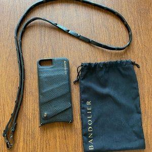 Bandolier black leather phone case/crossbody